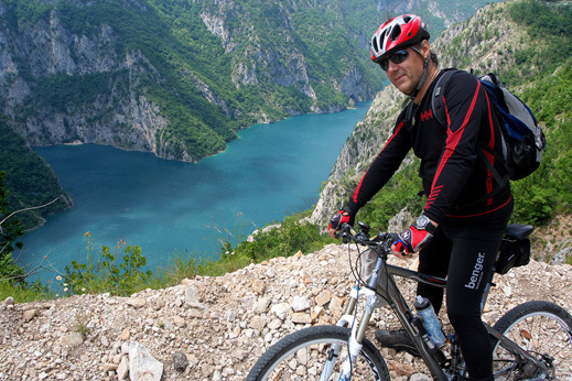 Views of Piva River Canyon. Cycling Montenegrou tour.