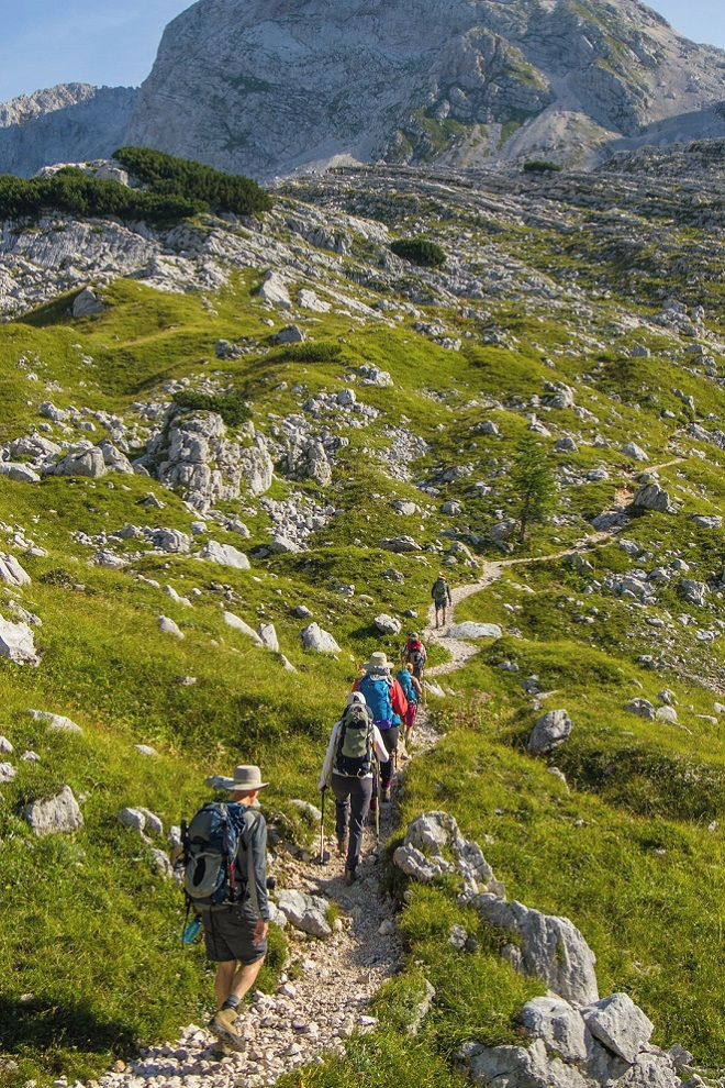 Hiking on trails through Triglav National Park.