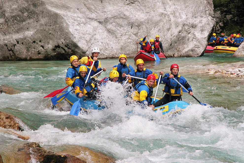 Adrenaline whitewater rafting on Soca river