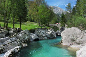 Emerald green Soca river