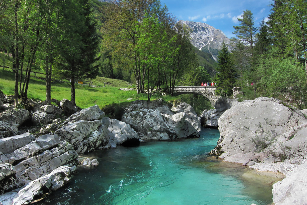 Emerald green Soca river