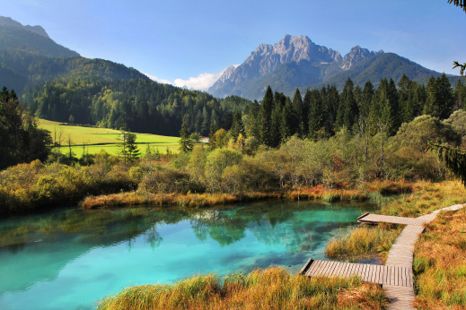 Zelenci spring, the source of Sava Dolinka river. cycling slovenia tour