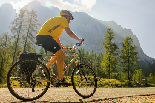 Bike paths with views of Alpine peaks on a cycling tour slovenia