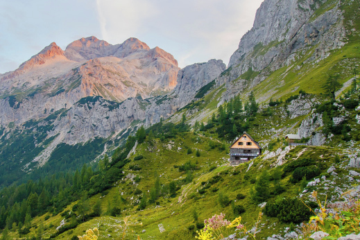 Vodnik hut in the heart of Triglav National Park