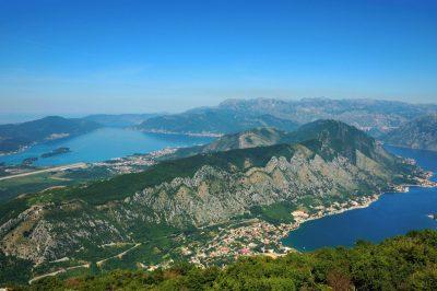 Biking Montenegro, view of Kotor bay, climbing up to Mt Lovcen