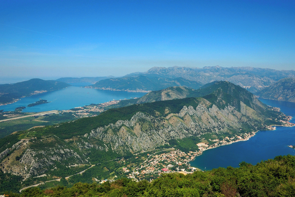 Biking Montenegro, view of Kotor bay, climbing up to Mt Lovcen