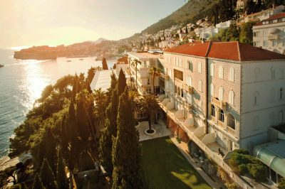Dubrovnik hotel, set amongst pretty terraced gardens on a cliffside overlooking the Adriatic.