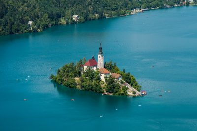 Bled Lake with St. Mary's church on the islet.