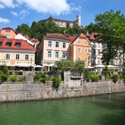 Ljubljana castle guards the old town along Ljubljanica river bank.