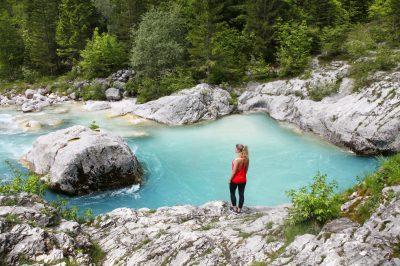 Serentiy of crystal clear Soča river.