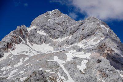 Planika mountain hut underneath Mt. Triglav, Slovenia's highest peak.