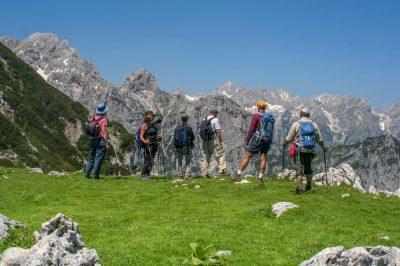 Hiking in the Julian Alps.