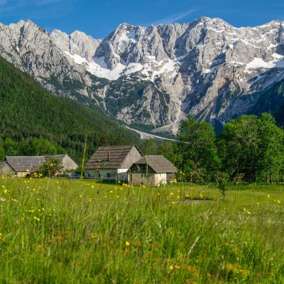 Hundred year old farmsteads in Slovenian Alps.