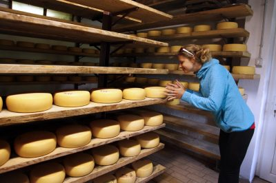 Cheese making in the Alps.