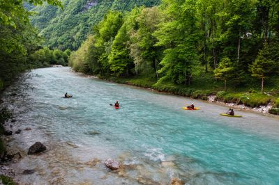 Exploring Soča Valley with a kayak.