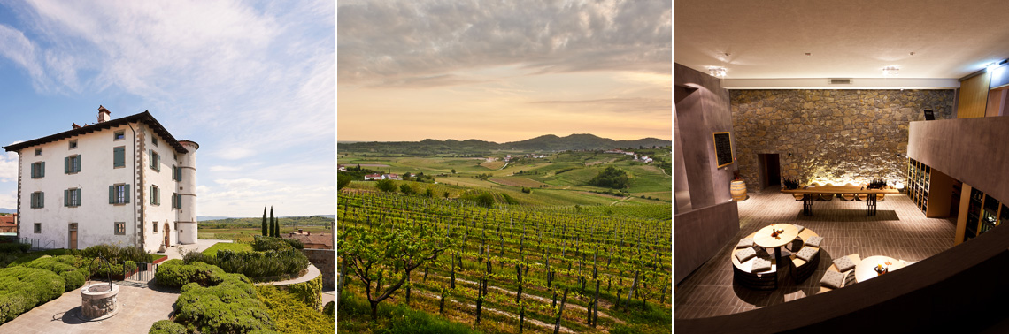Hotel Gredič and a breathtaking view of the surrounding vineyards.